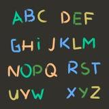 Алфавит вектора нарисованный рукой Letters1 покрашенное щеткой Стоковая Фотография RF