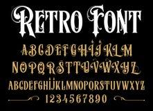 Алфавит вектора ретро Винтажный шрифт Стоковые Фото