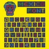 Алфавит вышитый бисером и череп от Мексики Стоковая Фотография