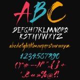 Алфавит в щетке каллиграфии. Стоковые Изображения