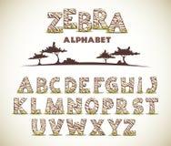 Алфавит ЗЕБРЫ Стоковые Изображения