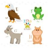 Алфавит зоопарка с смешными животными шаржа E, f, g, письма h Eag иллюстрация вектора