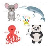 Алфавит зоопарка с смешными животными шаржа M, n, o, письма p Mou иллюстрация вектора