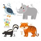 Алфавит зоопарка с смешными животными шаржа Q, r, s, письма t qua иллюстрация вектора