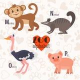 Алфавит зоопарка с смешными животными M, n, o, письма p Обезьяна, num бесплатная иллюстрация
