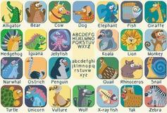 Алфавит зоопарка цвета вектора с милыми животными Стоковые Изображения
