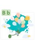 Алфавит динозавра, письмо b от воздушных шаров Стоковые Фото