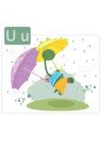 Алфавит динозавра, письмо u от зонтика Стоковая Фотография