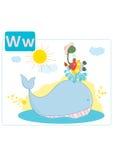 Алфавит динозавра, письмо w от кита Стоковые Фотографии RF