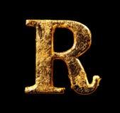 Алфавит и номера в листовом золоте Стоковое Фото