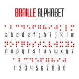 Алфавит и номера Шрифта Брайля Стоковые Изображения