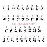 Алфавит и номера Шрифта Брайля Стоковое Изображение