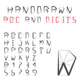 Алфавит и числа нарисованные рукой Pentagonal геометрический шрифт ABC Стоковое Изображение