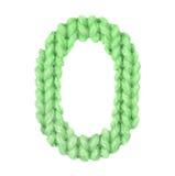 Алфавит 0, красит зеленый цвет Стоковое Изображение RF