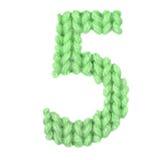 Алфавит 5 5, красит зеленый цвет Стоковые Изображения