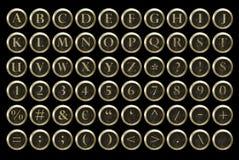 Алфавит ключа машинки Steampunk Стоковое Изображение