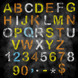 Алфавит мела вектора на классн классном Стоковая Фотография RF