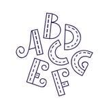 Алфавит нарисованное вручную a g Стоковая Фотография