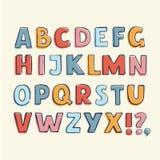 Алфавит нарисованный рукой ребяческий Стоковые Изображения