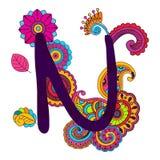 Алфавит нарисованный рукой Doodling Стоковое Изображение