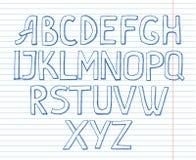 Алфавит на предпосылке тетради с прописями Стоковые Изображения
