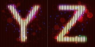Алфавит неонового света вектора - y z Стоковое Фото