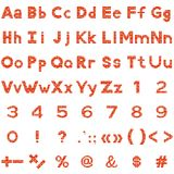 Алфавит, номера и знаки, комплект, кирпич Стоковое фото RF