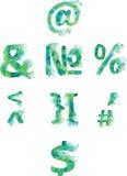 Алфавит, номера и пунктуация, покрашенное вручную зеленоголубое и Стоковые Фотографии RF