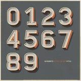 Алфавит нумерует ретро стиль цвета. Стоковое Изображение RF