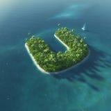 Алфавит острова Остров рая тропический в форме письма u Иллюстрация вектора