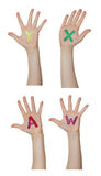 Алфавит (письма) покрашенный на руках детей Поднимают вверх руки стоковая фотография rf