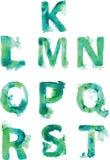 Алфавит, покрашенные вручную тени зеленоголубых и бирюзы Стоковое Изображение