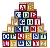 Алфавит преграждает белую предпосылку Стоковая Фотография RF
