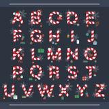 Алфавит рождества, конфета рождества иллюстрация вектора