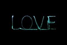 Алфавит света фейерверка бенгальского огня влюбленности Стоковые Фотографии RF