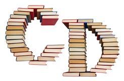 Алфавит сделанный из книг, писем c и d Стоковая Фотография