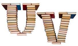 Алфавит сделанный из книг, писем u и v Стоковая Фотография RF