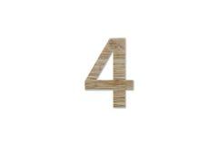 Алфавит 4 сделанный от изолированной древесины на белой предпосылке Стоковое Изображение RF