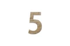 Алфавит 5 сделанный от изолированной древесины на белой предпосылке Стоковые Изображения RF