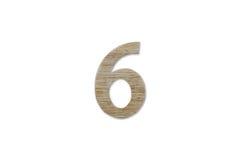 Алфавит 6 сделанный от изолированной древесины на белой предпосылке Стоковая Фотография