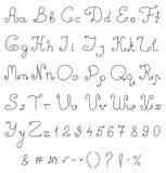 Алфавит чертежа руки вектора. Каллиграфический шрифт. Стоковые Фотографии RF