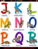 Алфавит шаржа английский с животными Стоковое фото RF