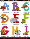 Алфавит шаржа английский с животными Стоковые Изображения RF