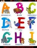 Алфавит шаржа английский с животными Стоковые Фото
