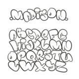 Алфавит шаржа в стиле комиксов graffiti Бесплатная Иллюстрация