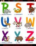 Алфавит шаржа испанский с животными Стоковые Фото