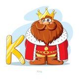 Алфавит шаржей - пометьте буквами k с смешным королем Стоковое Фото
