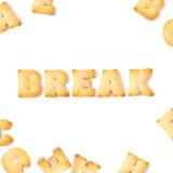 Алфавит шрифта печенья пролома Стоковые Изображения RF