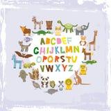 Алфавит для детей от a к z Комплект смешного характера животных шаржа зоопарк на голубой предпосылке grunge вектор иллюстрация вектора