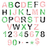 Алфавит grunge цвета для вашего дизайна Стоковые Изображения RF